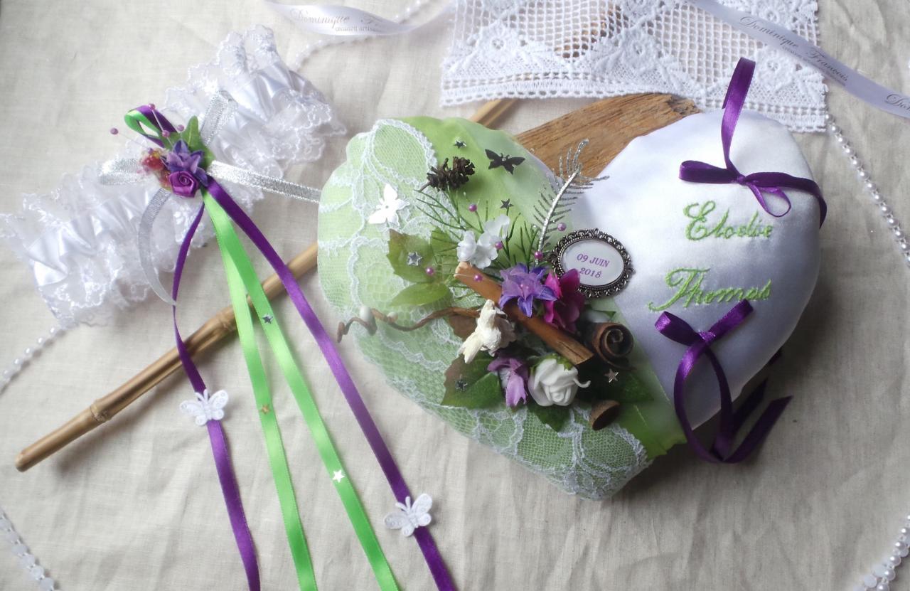 Coussin alliances coeur anis violet thème forêt enchantée