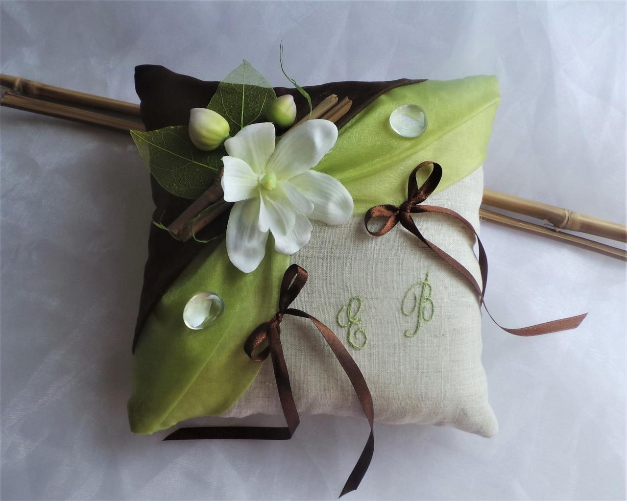 Coussin porte alliances chocolat anis Zen bambou orchidée