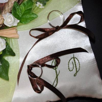 Coussin porte alliance marron, chocolat anis fuchsia or turquoise