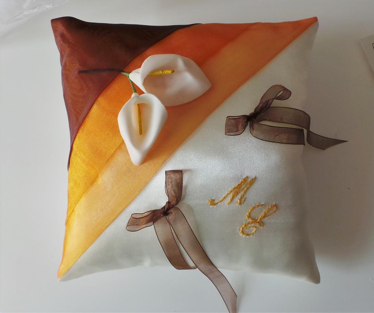 coussin alliances orange marron (1)