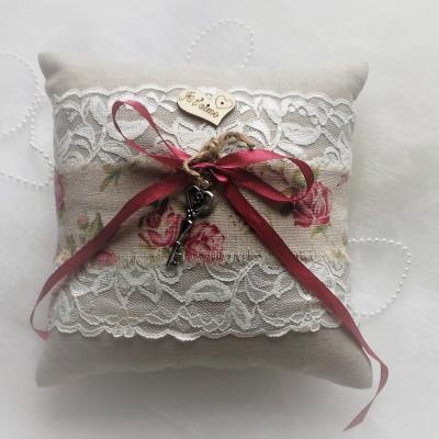 coussin mariage champêtre chic lin coton dentelle