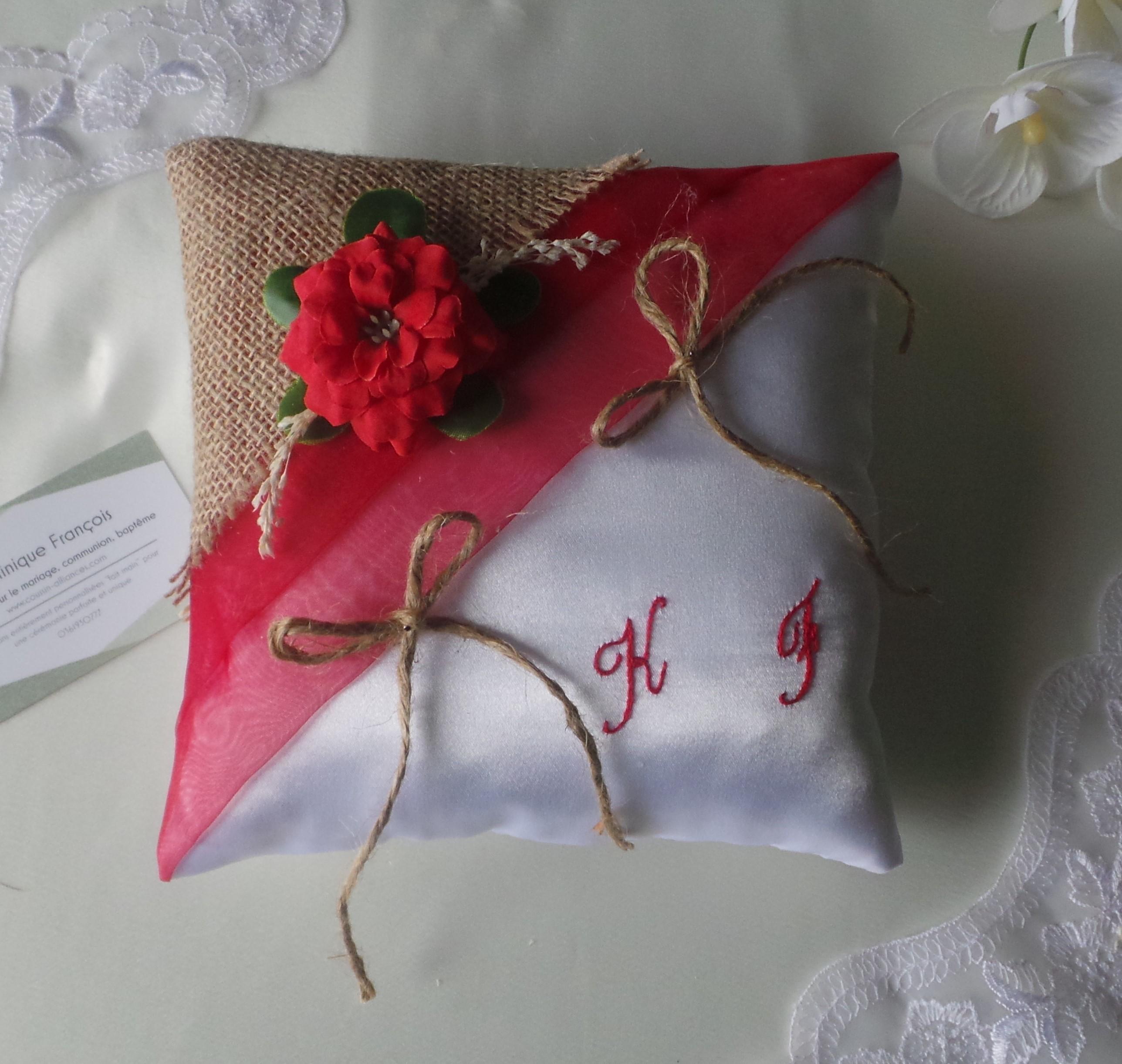 Coussin mariage champêtre campagne rouge et blanc