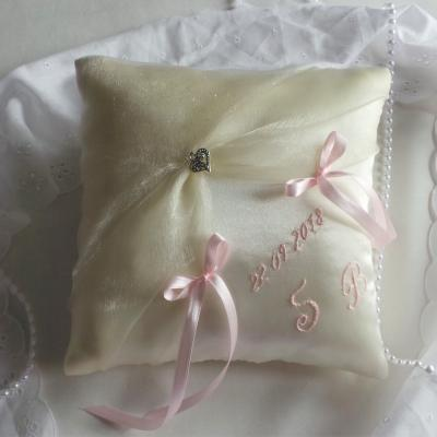 coussin mariage ivoire rose pale