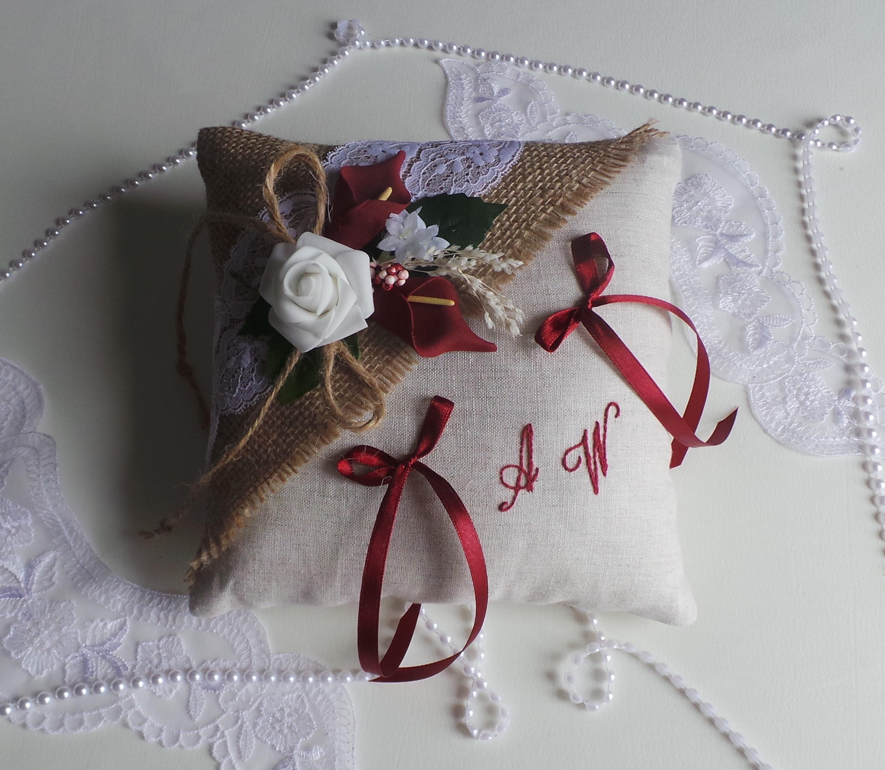 Coussin porte alliance jute lin dentelle bordeaux ou autre couleur