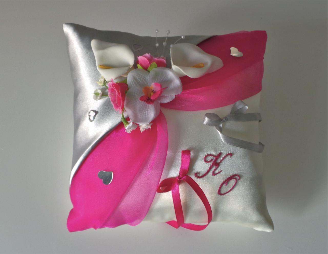 coussin mariage rose fuchsia argent