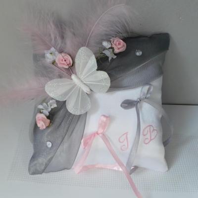 coussin mariage rose et gris