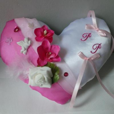 coussin mariage coeur rose  anges