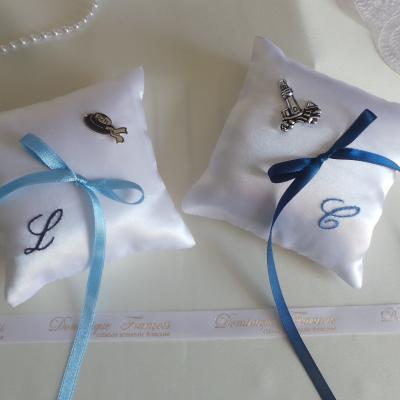 coussin mariage thème mer blanc bleu duo Bretagne