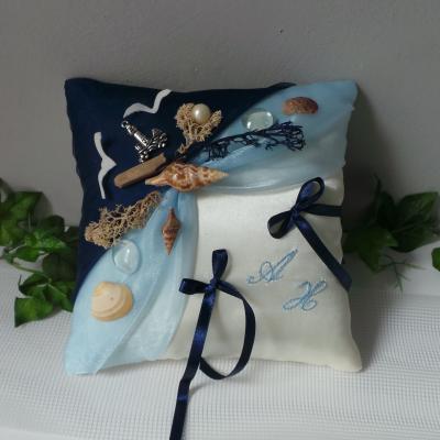 coussin mariage thème mer bleu ciel bleu marine