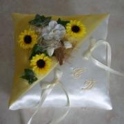 """Coussin d'alliances jaune """"champêtre"""" tournesol"""