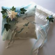 Coussin de mariage fée bleu ciel