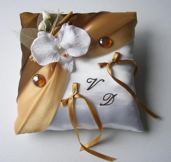 coussin alliance marron/beige doré, orchidée