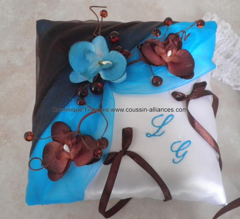 Coussin porte alliances de mariage chocolat turquoise