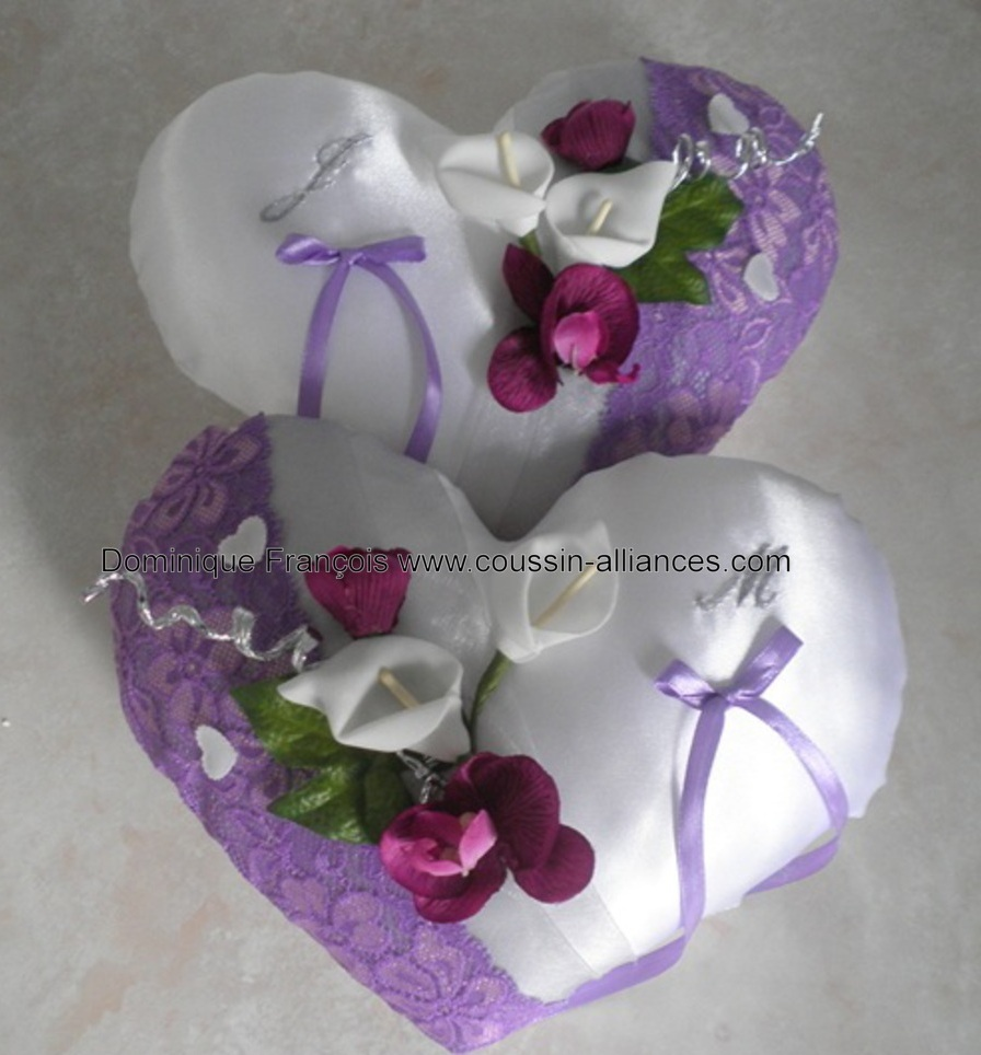 Duo coussin de mariage dentelle violet gris clair personnalisé
