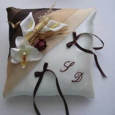 Coussin alliance beige chocolat 1