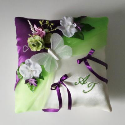Coussin alliance champetre anis violet