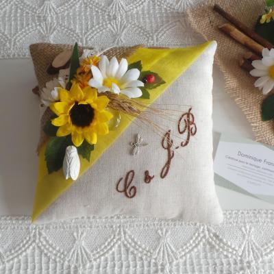 Coussin alliance champetre chic jaune lin jute personnalise