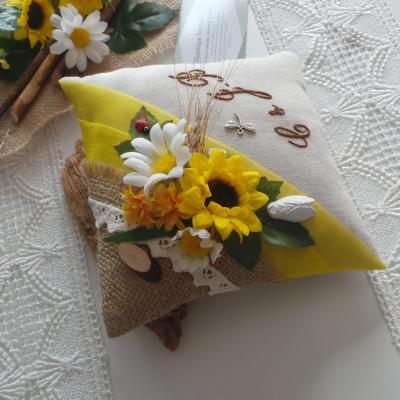 Coussin alliance champetre chic jaune lin jute