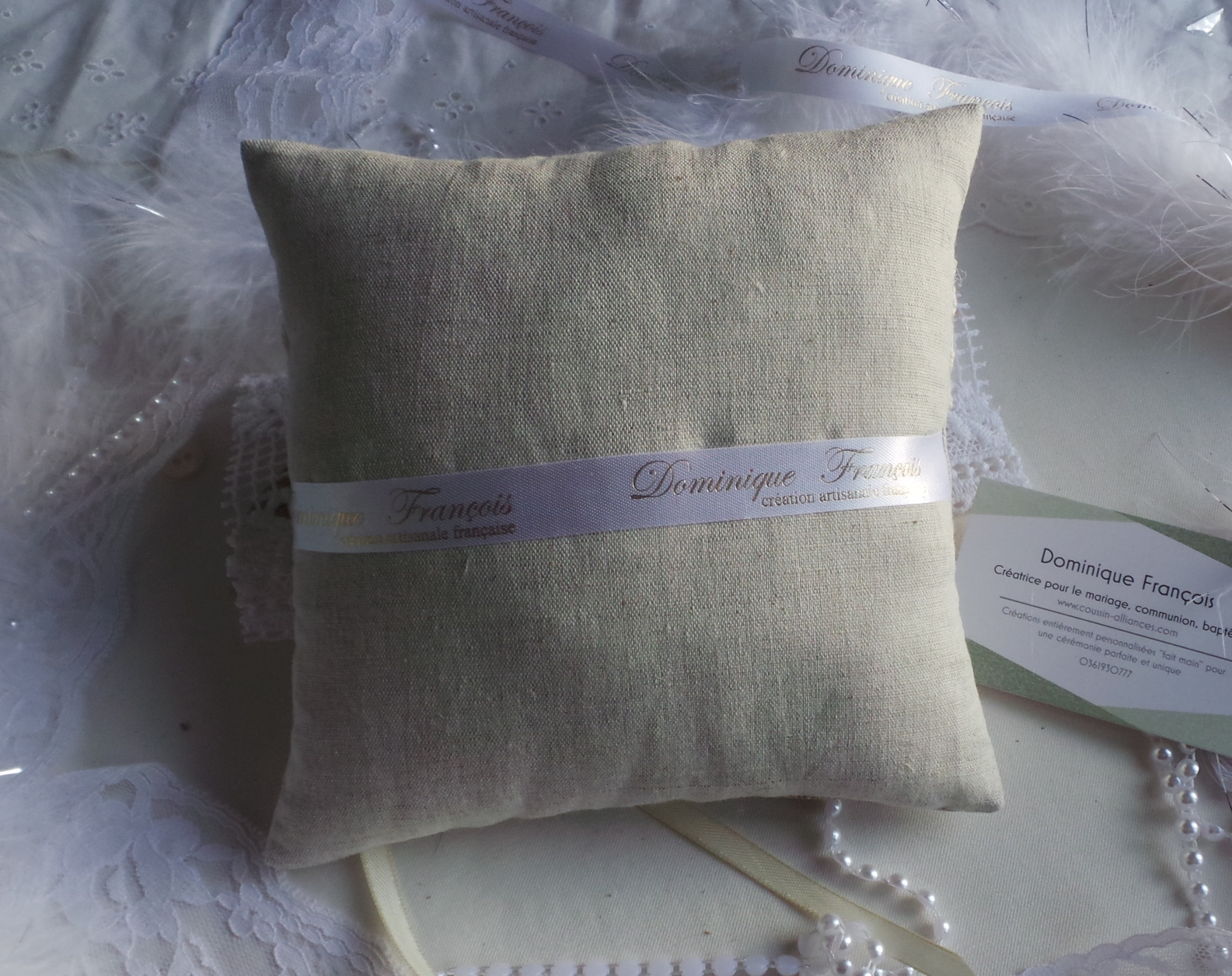 Coussin alliance champetre chic personnalise