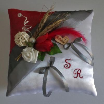 Coussin alliance champetre rouge 63