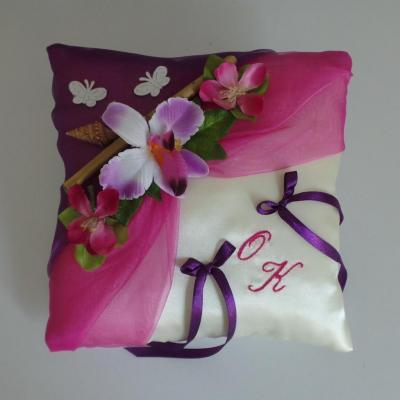 Coussin alliance champetre violet fuchsia fait main
