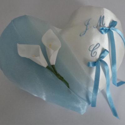 Coussin alliance coeur bleu ciel
