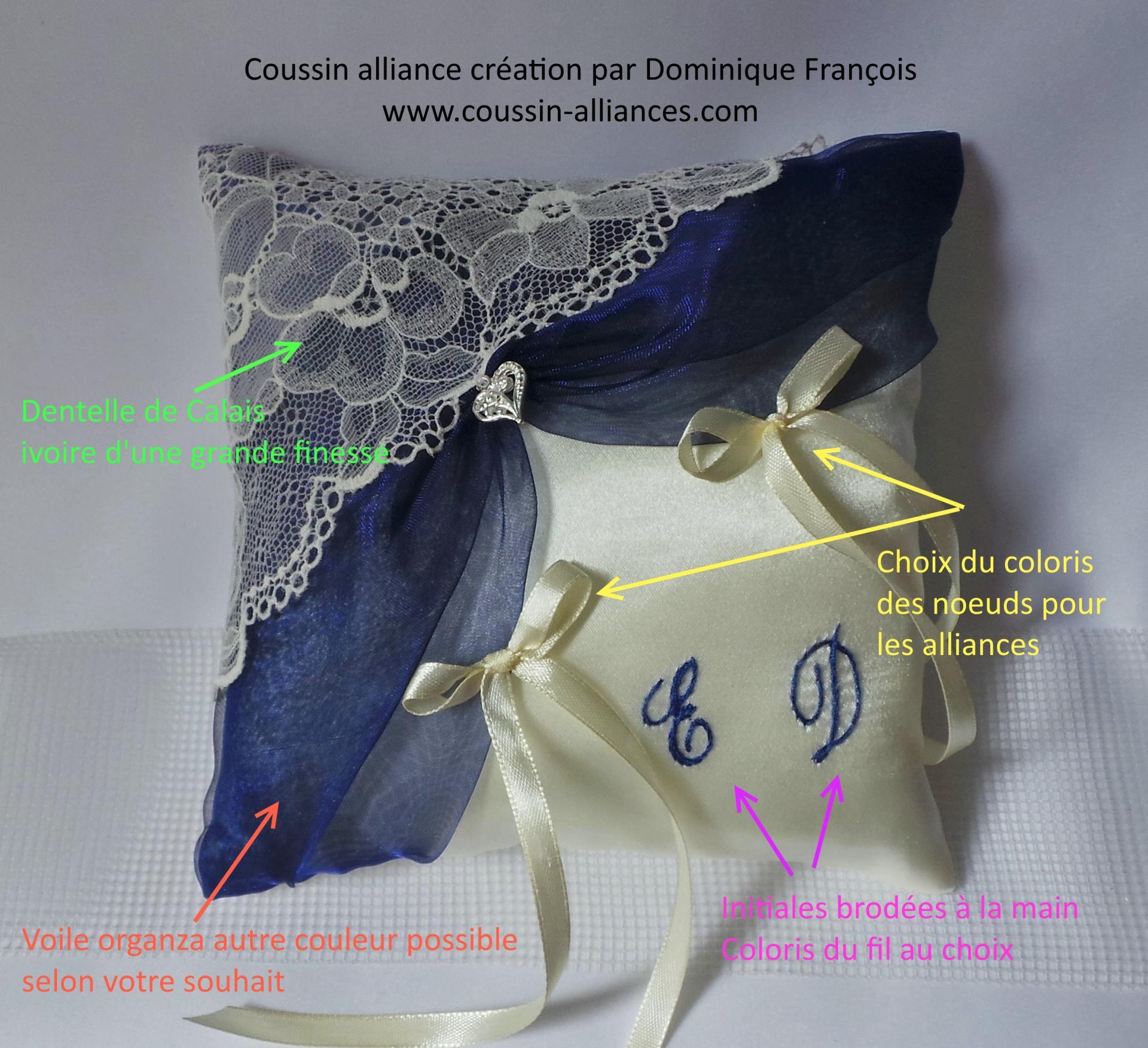 Coussin alliance dentelle organza