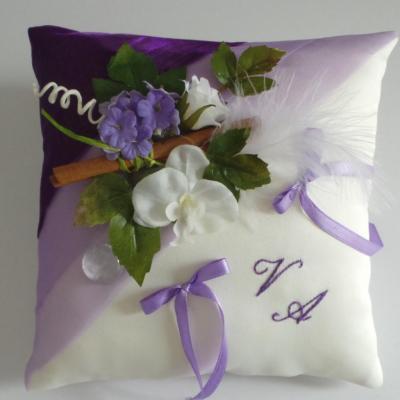 Coussin alliance parme violet champetre