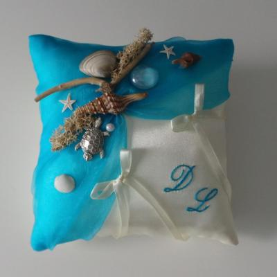 Coussin alliance turquoise mer