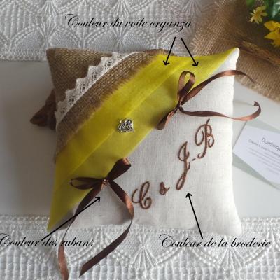 Coussin alliances champetre chic campagne jaune tournesol jute lin dentelle 1