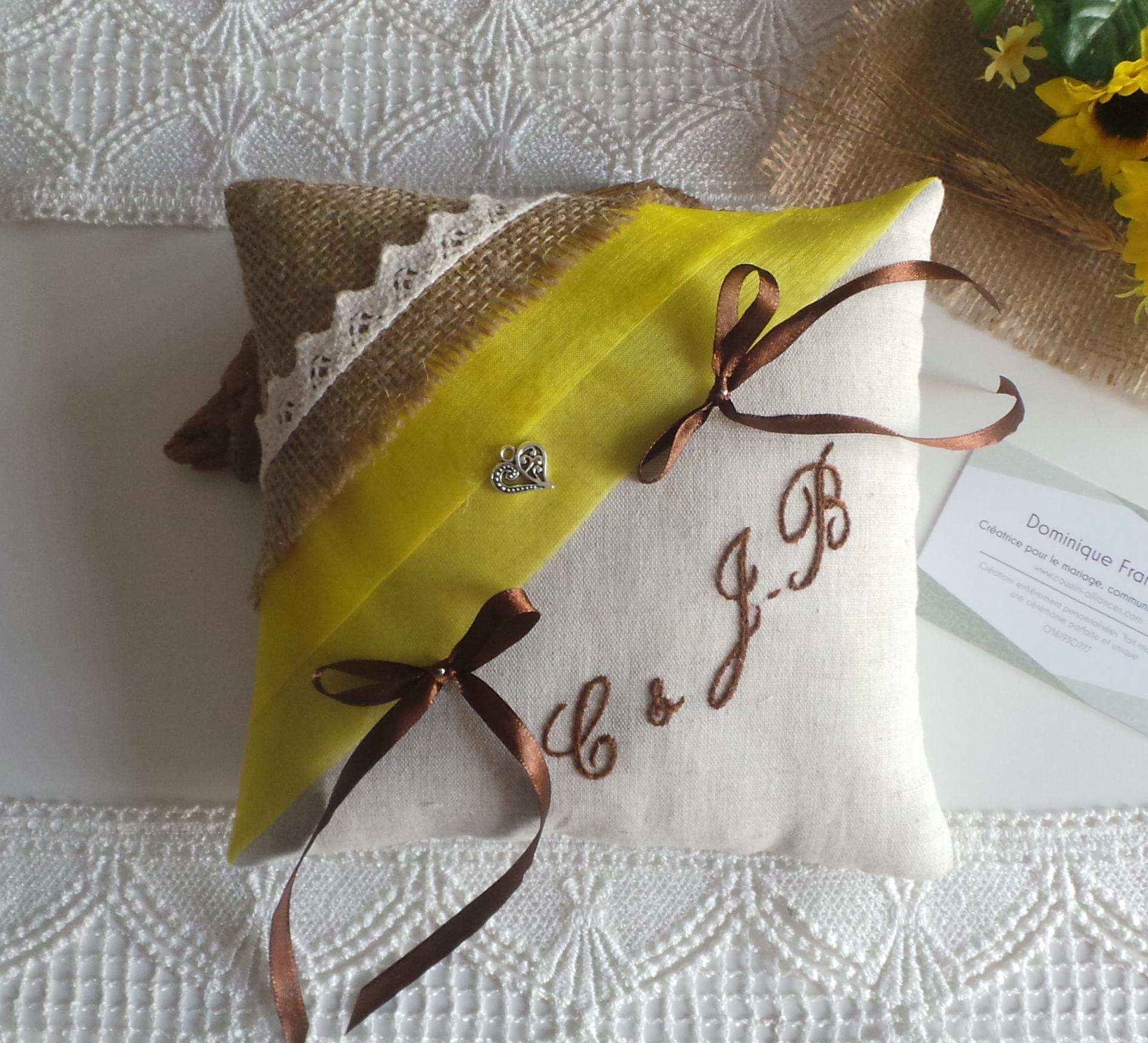 Coussin alliances champetre chic campagne jaune tournesol jute lin dentelle 2