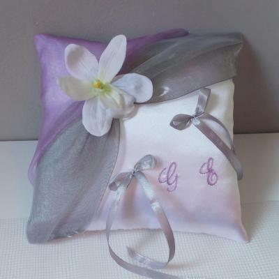 Coussin alliances chic gris parme personnalise orchidee