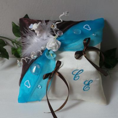 Coussin alliances chocolat turquoise theme bulles et ange