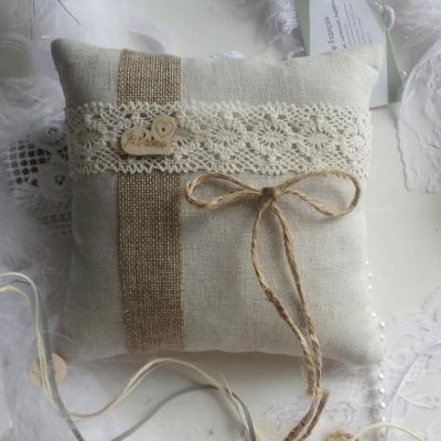 Coussin mariage champêtre chic