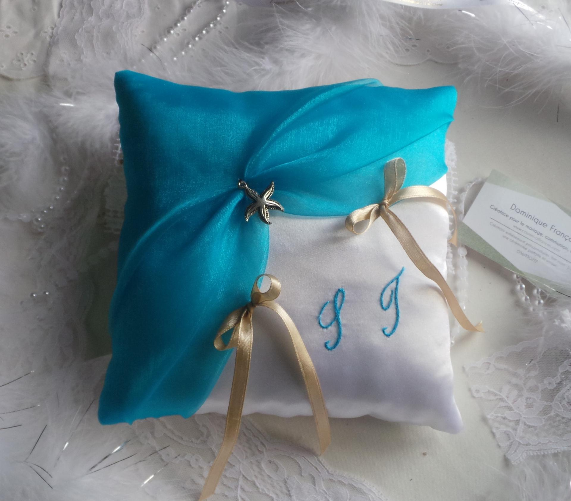 Coussin alliances mariage blanc turquoise 1