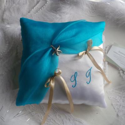 Coussin alliances mariage blanc turquoise 2