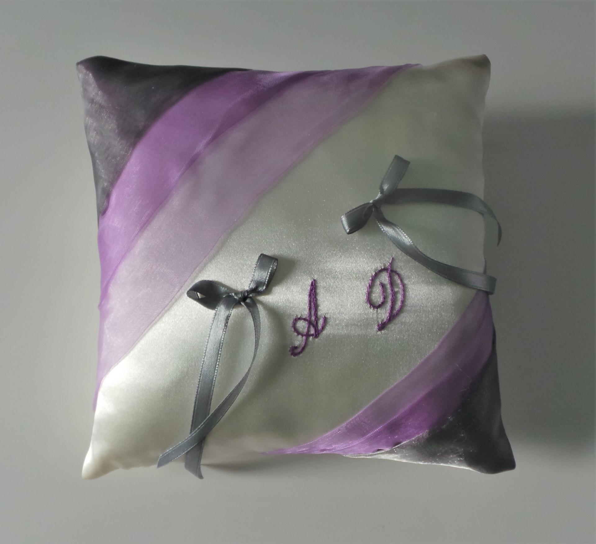 Coussin alliances parme violet 14