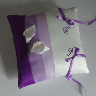 Coussin alliance parme violet ivoire ou blanc
