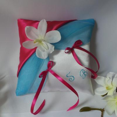 Coussin alliances turquoise fuchsia personnalise orchidee