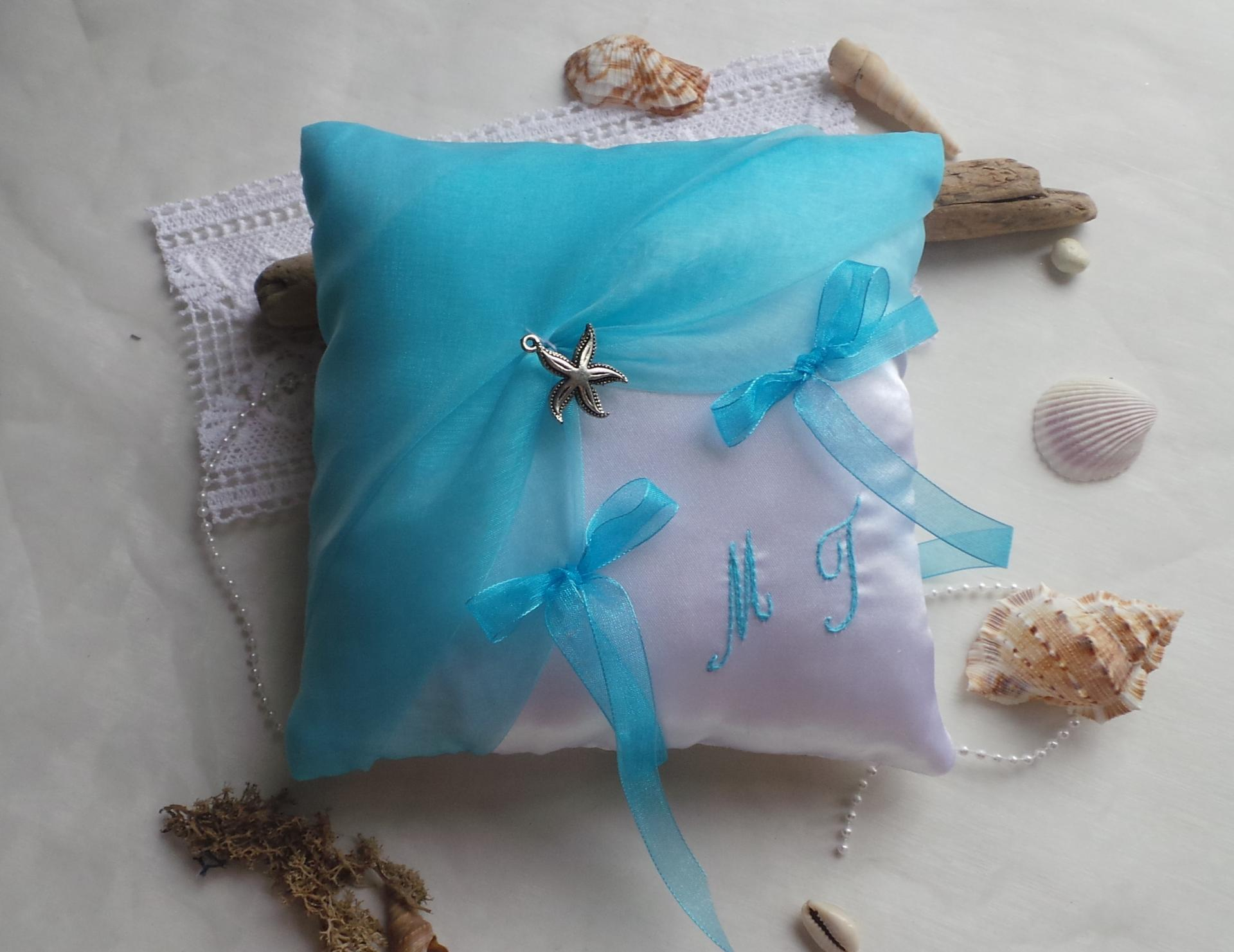 Coussin alliances turquoise personnalise