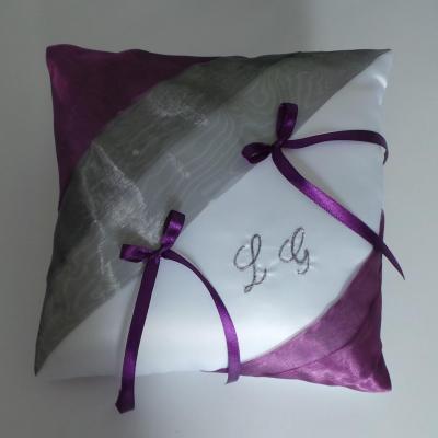 Coussin alliance gris violet prune