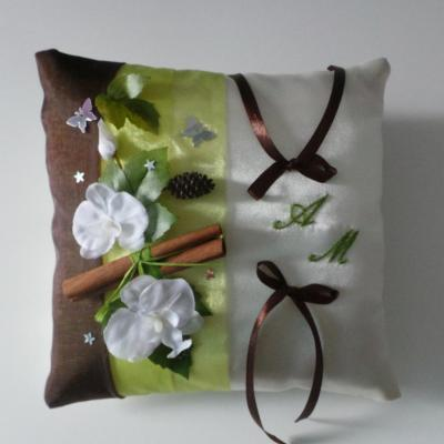 Coussin mariage anis chocolat champetre foret enchantee