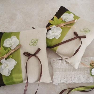 Coussin mariage anis chocolat theme zen