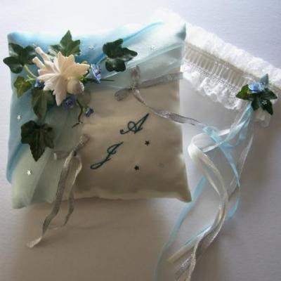 Coussin mariage bleu canard ciel personnalise