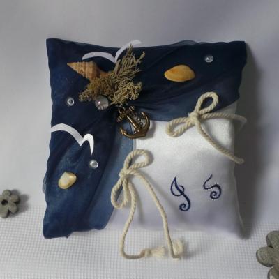 Coussin mariage bleu marine nuit theme mer