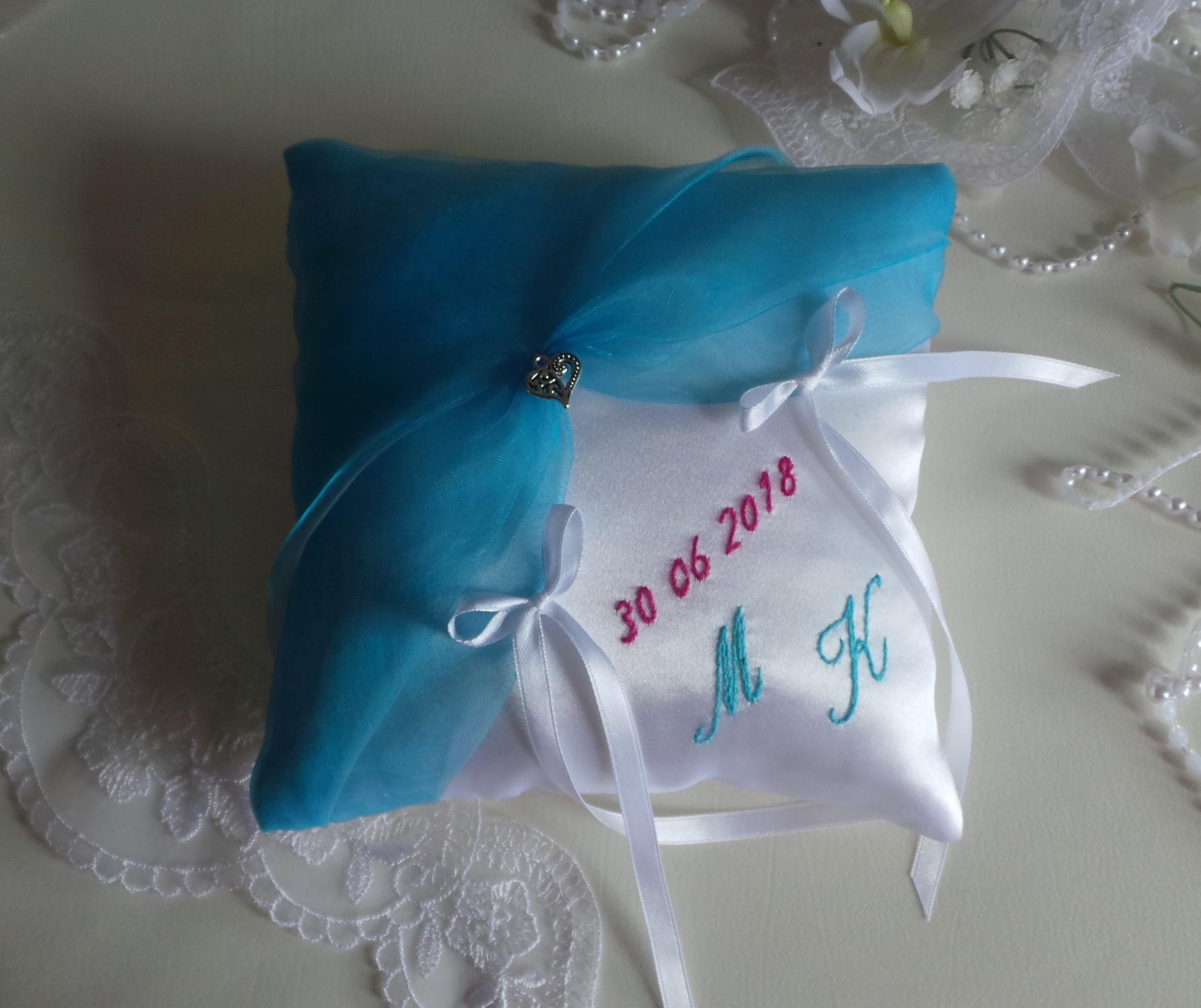 Coussin mariage bleu turquoise