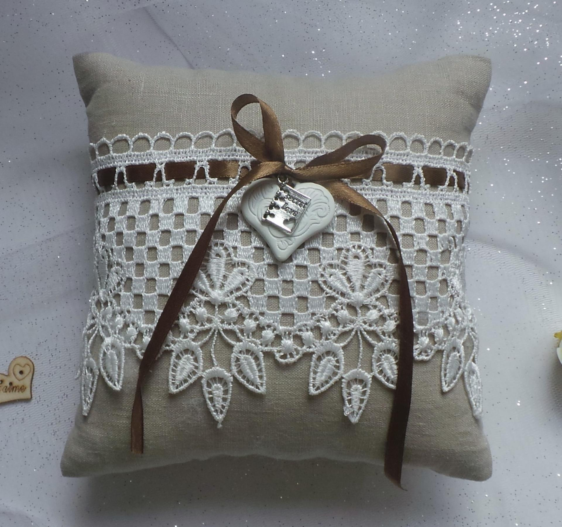Coussin mariage campagnard lin 1 2