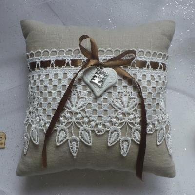 Coussin mariage campagnard lin 1 3