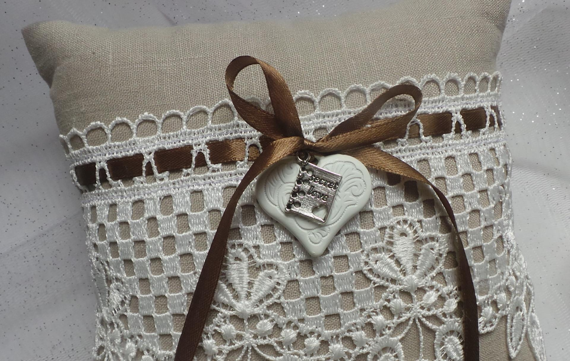 Coussin mariage campagnard lin 2