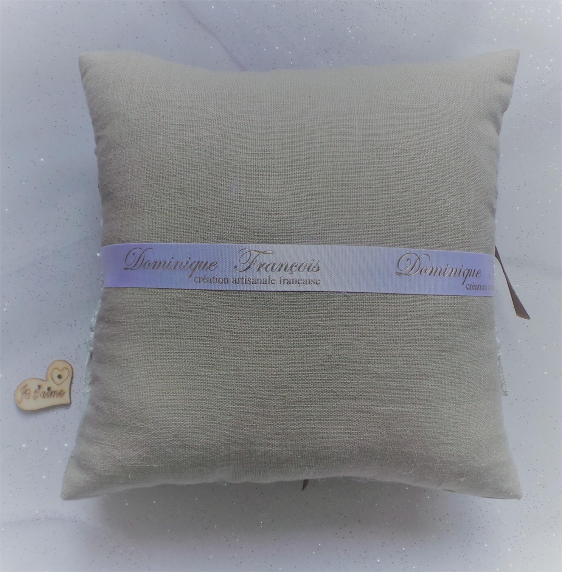 Coussin mariage campagnard lin 4
